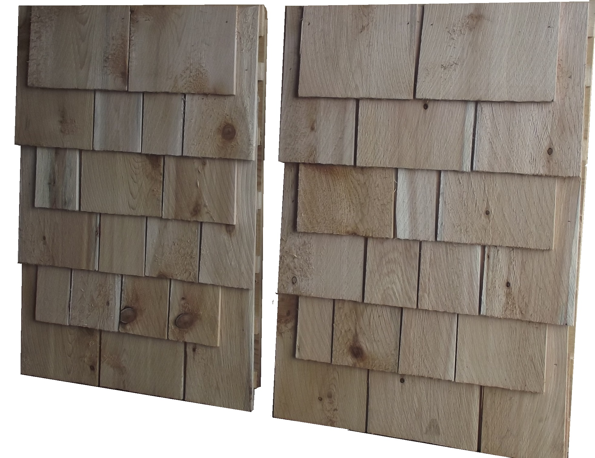 6 course white cedar siding panels