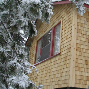 cedar shingle siding with board corners