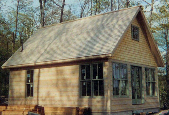 Cedar shingle siding and roofing.