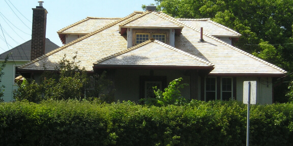 Cedar shingles on a cottage style roof